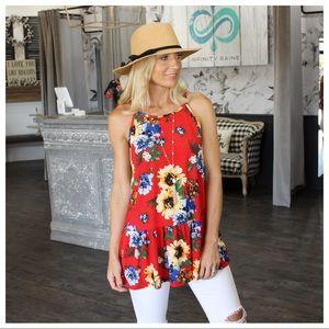 🌞SUMMER SALE🌞 Red floral print drop peplum tunic
